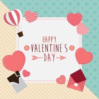 Glückliche valentinsgrußtagesgrußkarte mit herzen und schokolade, hintergrundzusammenfassung