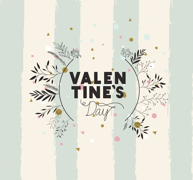 Glückliche valentinsgrußtageskarte mit blattkreisrahmen