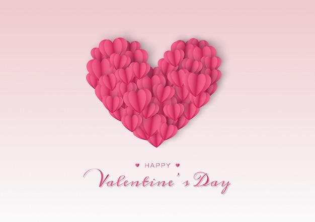 Glückliche valentinsgrußtageskarte mit papierherzen