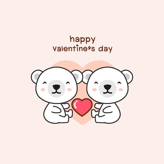 Glückliche valentinsgrußtagespaare lieben bärenkarikatur.