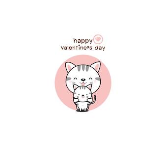 Glückliche valentinsgrußtagespaare lieben katzenkarikatur.