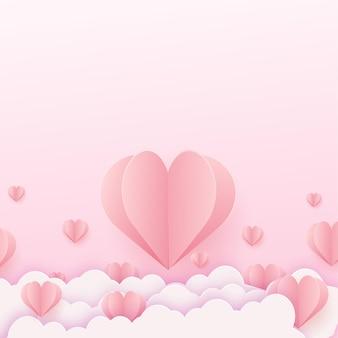 Glückliche valentinskarte mit fliegenden rosa papierherzen.