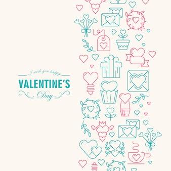 Glückliche valentinskarte mit vielen symbolillustrationen