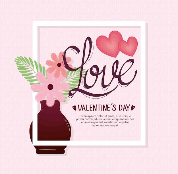 Glückliche valentinstag-beschriftungskarte mit blumen in der quadratischen rahmenillustration der basis