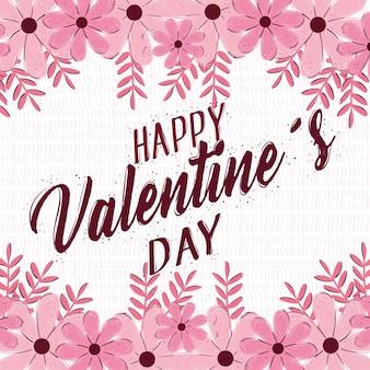 Glückliche valentinstag-beschriftungskarte mit blumenrahmenillustration