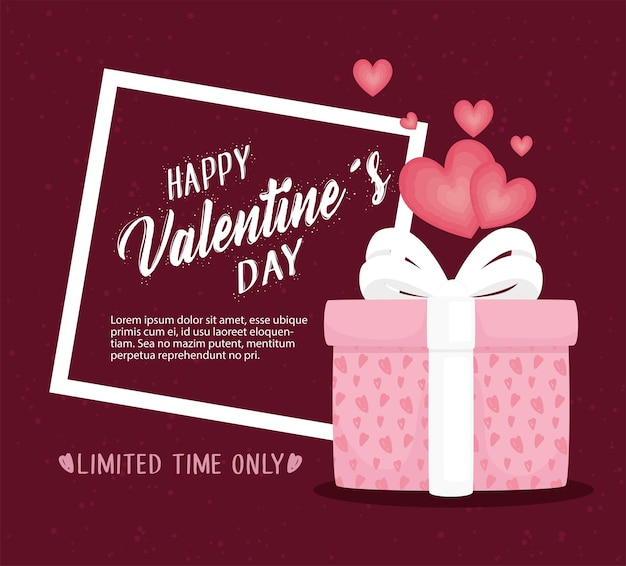 Glückliche valentinstag-beschriftungskarte mit geschenk- und herzillustration