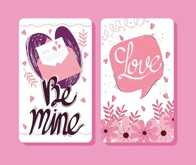 Glückliche valentinstag-beschriftungskarten mit sprachblase und umschlagillustration