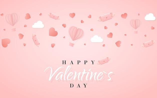 Glückliche valentinstag-einladungskartenschablone mit heißluftballon des origami-papiers in herzform, papierbuchstabe, weißen wolken und konfetti. rosa hintergrund.
