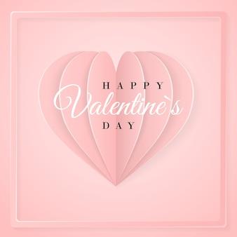 Glückliche valentinstag-einladungskartenschablone mit origami-papierherz. rosa hintergrund.