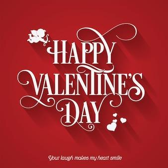 Glückliche valentinstag-feiertagskarte auf rotem hintergrund