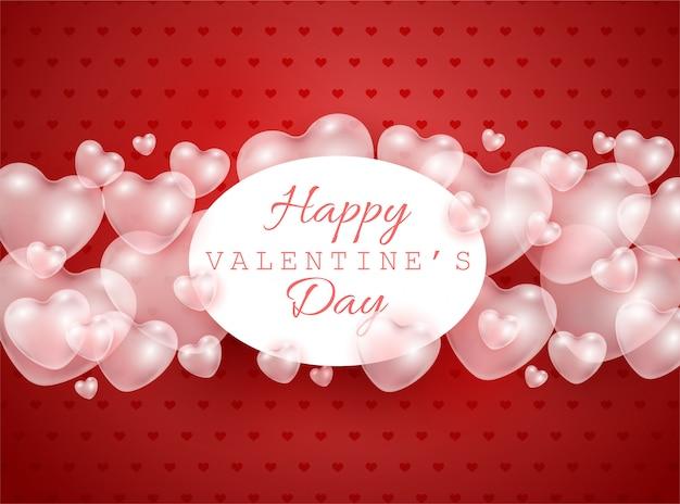Glückliche valentinstag-geschenkkarte mit roten und rosa 3d-herzformen transparenten luftballons - vektorillustration der romantik.