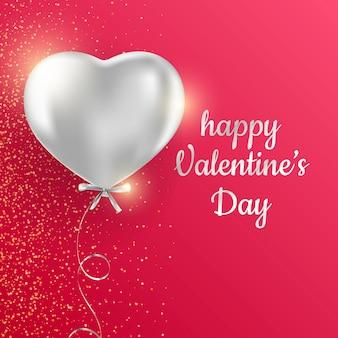 Glückliche valentinstag-gruß-karte auf rotem hintergrund