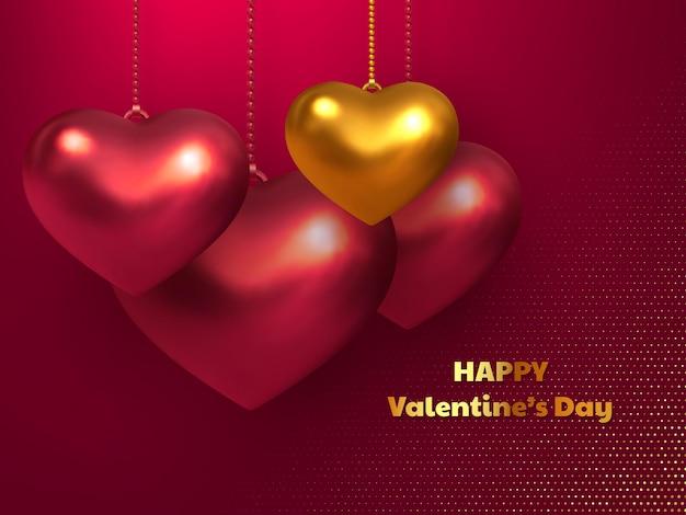 Glückliche valentinstag-grußkarte mit den roten und goldenen herzförmigen luftballons 3d