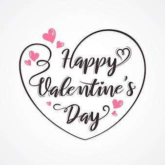 Glückliche valentinstag-grußkarte mit herz und beschriftung