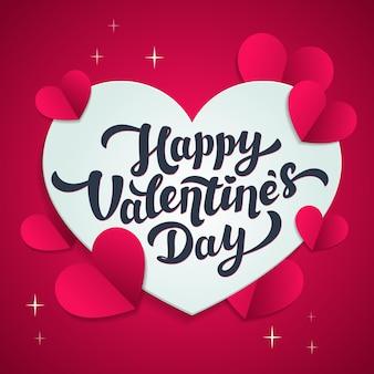 Glückliche valentinstag-grußkarte mit herzen im papierschnittstil