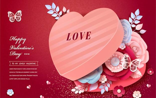 Glückliche valentinstag-grußkarte mit herzförmiger geschenkbox mit papierblumendekorationen im 3d-stil