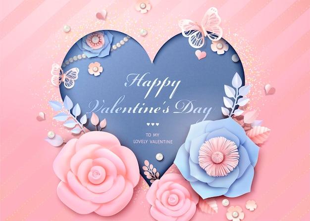 Glückliche valentinstag-grußkarte mit herzförmiger schablone mit papierblumendekorationen im 3d-stil