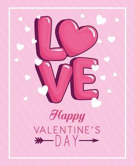 Glückliche valentinstag-grußkarte mit liebesbeschriftung und weißen herzen