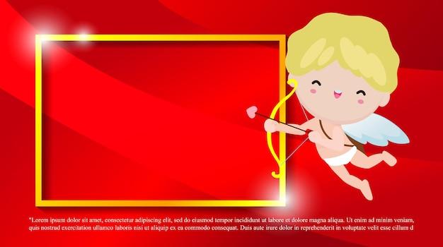 Glückliche valentinstag-grußkarte mit niedlichem amorcharakter, liebesfeiertage flacher cartoon-stil