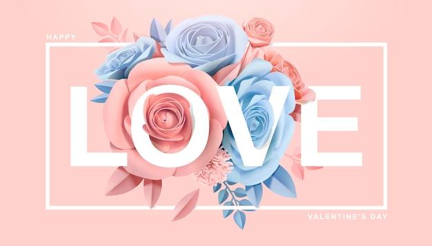 Glückliche valentinstag-grußkarte mit papierblüten im 3d-stil