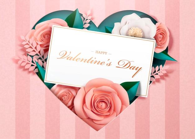 Glückliche valentinstag-grußkarte mit papierblüten und kartenschablone im 3d-stil