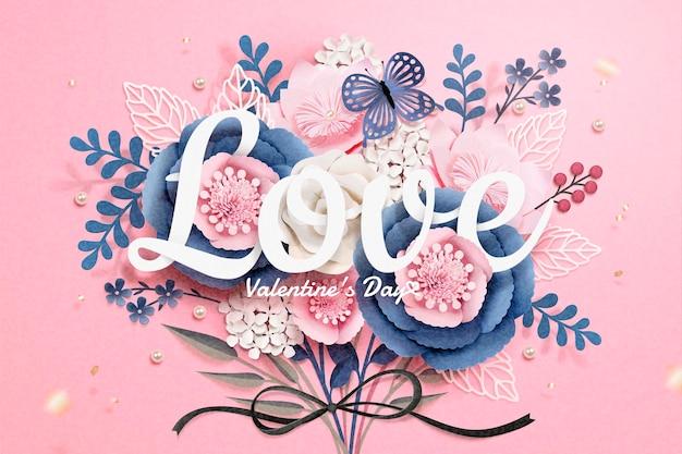 Glückliche valentinstag-grußkarte mit papierblumen-boutique im 3d-stil