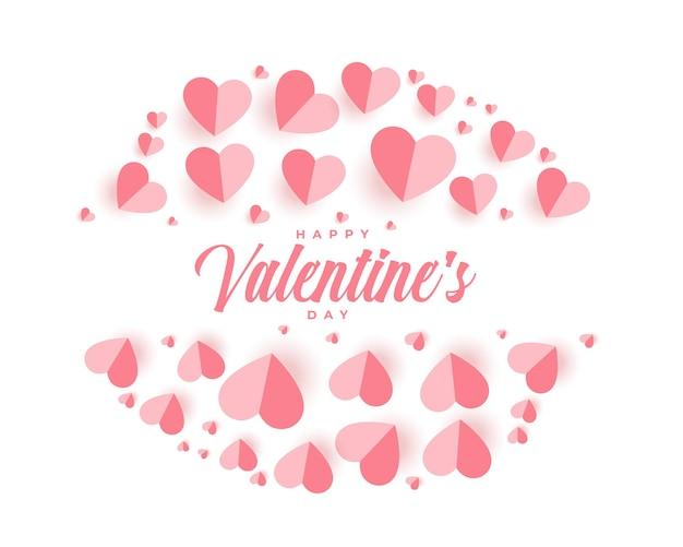 Glückliche valentinstag-grußkarte mit papierherzen