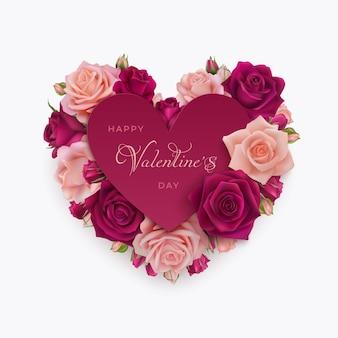Glückliche valentinstag-grußkarte mit rosa und burgunderfarbenen fotorealistischen rosen. glückwunschtext alles gute zum valentinstag.