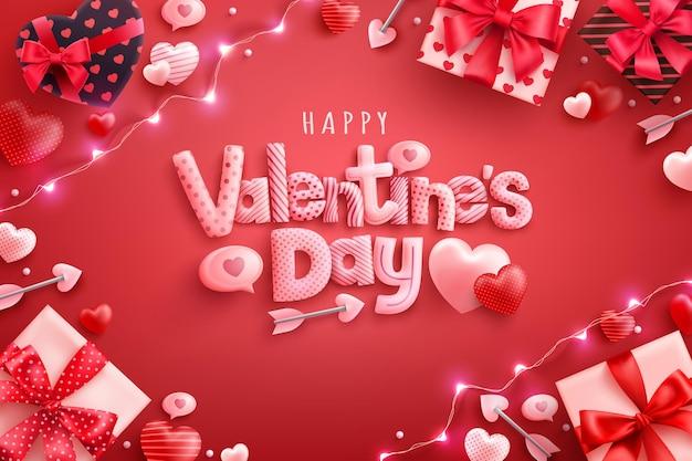 Glückliche valentinstag-grußkarte mit süßen herzen und geschenkbox auf rot