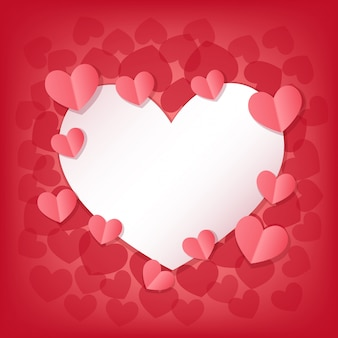 Glückliche valentinstag-grußkarte mit weißen und rosa herzen.