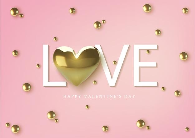 Glückliche valentinstag-grußkarte, realistische goldene metallische herzen und text auf rosa hintergrund