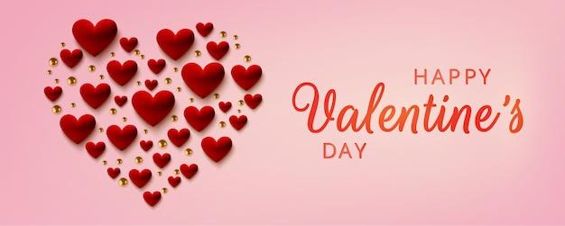 Glückliche valentinstag-grußkarte, realistische rote herzen auf rosa hintergrund.