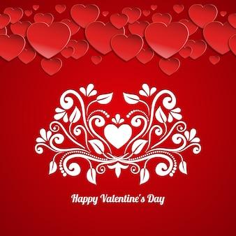 Glückliche valentinstag-kartenvektorschablone mit papierherzen und kalligraphischem blumenmuster