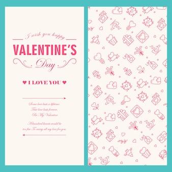 Glückliche valentinstag-lichtgrußkarte mit text und rot gezeichneter festlicher vektorillustration