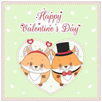 Glückliche valentinstag niedliche füchse, die postkarte großes herz zeichnen