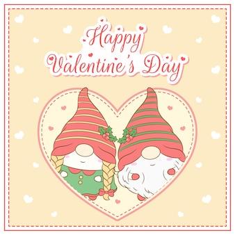 Glückliche valentinstag niedlichen gnomen, die postkarte großes herz zeichnen
