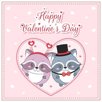 Glückliche valentinstag niedlichen waschbären, die postkarte großes herz zeichnen