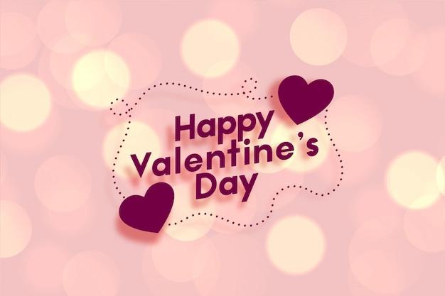 Glückliche valentinstag rosa bokeh grußkarte