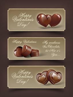 Glückliche valentinstag-schokoladen-illustrations-fahnen