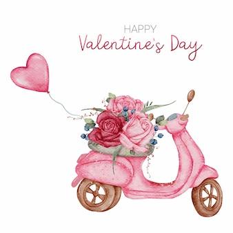 Glückliche valentinstag süße karte hand malen aquarell