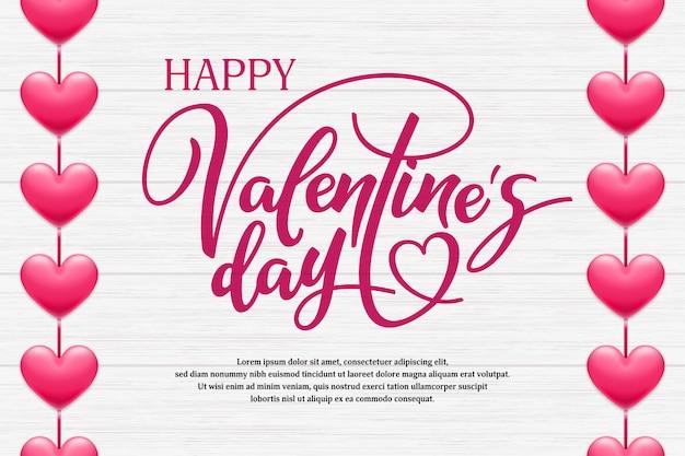 Glückliche valentinstagbeschriftung mit rosa herzen auf hölzernem hintergrund