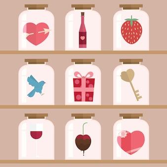 Glückliche valentinstagdesign-hintergrund illustration