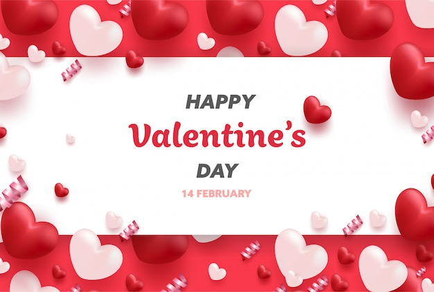 Glückliche valentinstagfahne mit den roten und rosa luxusherzen und den reizenden elementen.