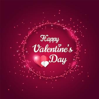 Glückliche valentinstaggrußkarte, lichteffekt des glänzenden funkelns