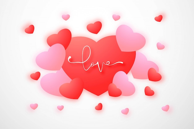 Glückliche valentinstaggrußkarte mit herzen