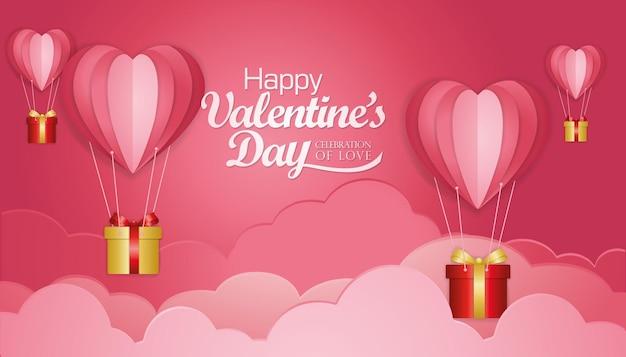 Glückliche valentinstaggrußkartenschablone mit papierschnittart