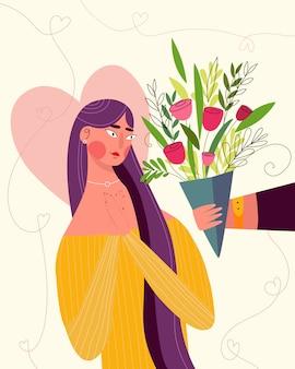Glückliche valentinstagillustration für grußkarte. nettes romantisches paar, mann gibt blumen und herzen