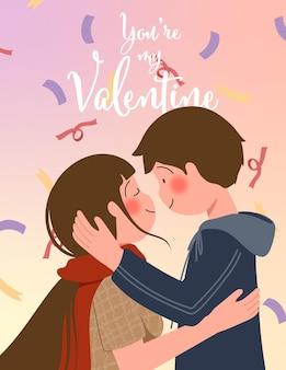 Glückliche valentinstagillustration mit niedlichem paar und beschriftung