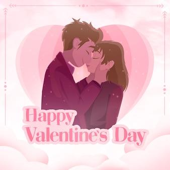 Glückliche valentinstagkarikatur des hintergrundes