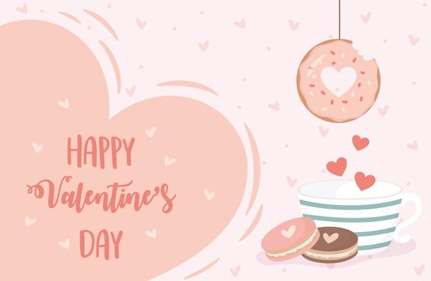 Glückliche valentinstagkarte mit hängenden donut-kaffeetasse und keksenherzen